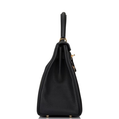 View 3. Thumbnail of Lot 52. HERMÈS   BLACK RETOURNE KELLY 28CM OF TOGO LEATHER WITH GOLD HARDWARE.