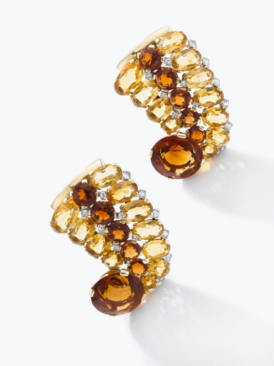 View 4. Thumbnail of Lot 110. Cartier | Pair of citrine and diamond clips/bangle combination, circa 1940 | 卡地亞 | 黃水晶配鑽石別針一對/手鐲組合,約1940年.