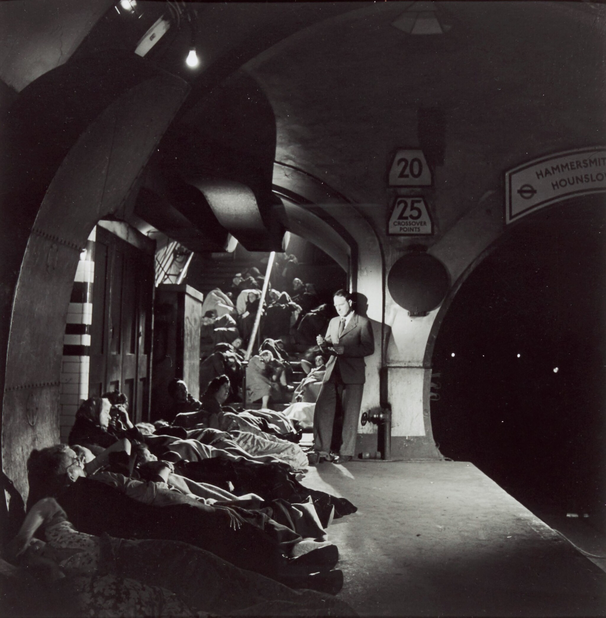 View full screen - View 1 of Lot 155. Henry Moore in Holborn Underground, London, 1943.