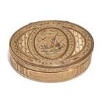 A LOUIS XVI VARICOLOR GOLD OVAL SNUFF BOX, JEAN-EDMÉ JULLIOT, PARIS, 1785