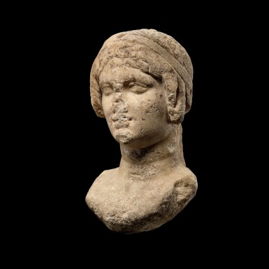 View 3. Thumbnail of Lot 62. A Ptolemaic Marble Head of a Queen in the guise of Isis, circa 2nd Century B.C..