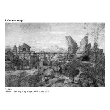 View 2. Thumbnail of Lot 21. THE MASTER OF THE FEMALE HALF-LENGTHS | MOUNTAINOUS LANDSCAPE WITH ELIJAH NOURISHED BY AN ANGEL AND A RAVEN.