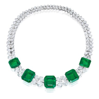 View 1. Thumbnail of Lot 97. Harry Winston   An Impressive Emerald and Diamond Necklace.