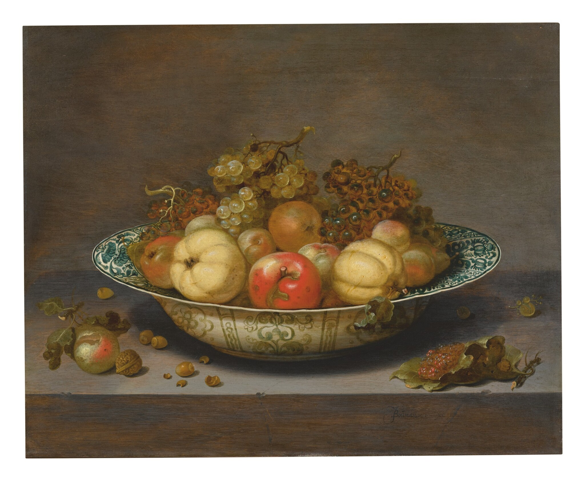 View full screen - View 1 of Lot 567. JOHANNES BOUMAN | STILL LIFE OF FRUIT IN A KRAAK BOWL, ON A LEDGE.