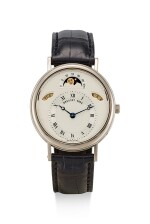 BREGUET | CLASSIQUE, REFERENCE 3337,  A WHITE GOLD WRISTWATCH WITH DAY, DATE AND MOON PHASES, CIRCA 2000