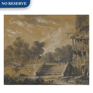 View 1. Thumbnail of Lot 154. A landscape with a figure ascending stairs.