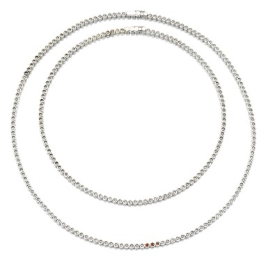 View 3. Thumbnail of Lot 103. Two diamond necklaces.