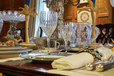 View 22. Thumbnail of Lot 44. An early 19th C Mahogany Dining Table by Gillow & Co. with a set of 12 carved Dining Chairs in the Chippendale Style, and a Thomas Goode 'Stewart' bone china part dinner and dessert service, and an original antique glass from the Thomas Goode archive, various dates.