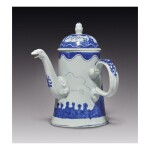 A RARE BOW PORCELAIN BLUE AND WHITE CHOCOLATE OR COFFEE POT AND COVER CIRCA 1750