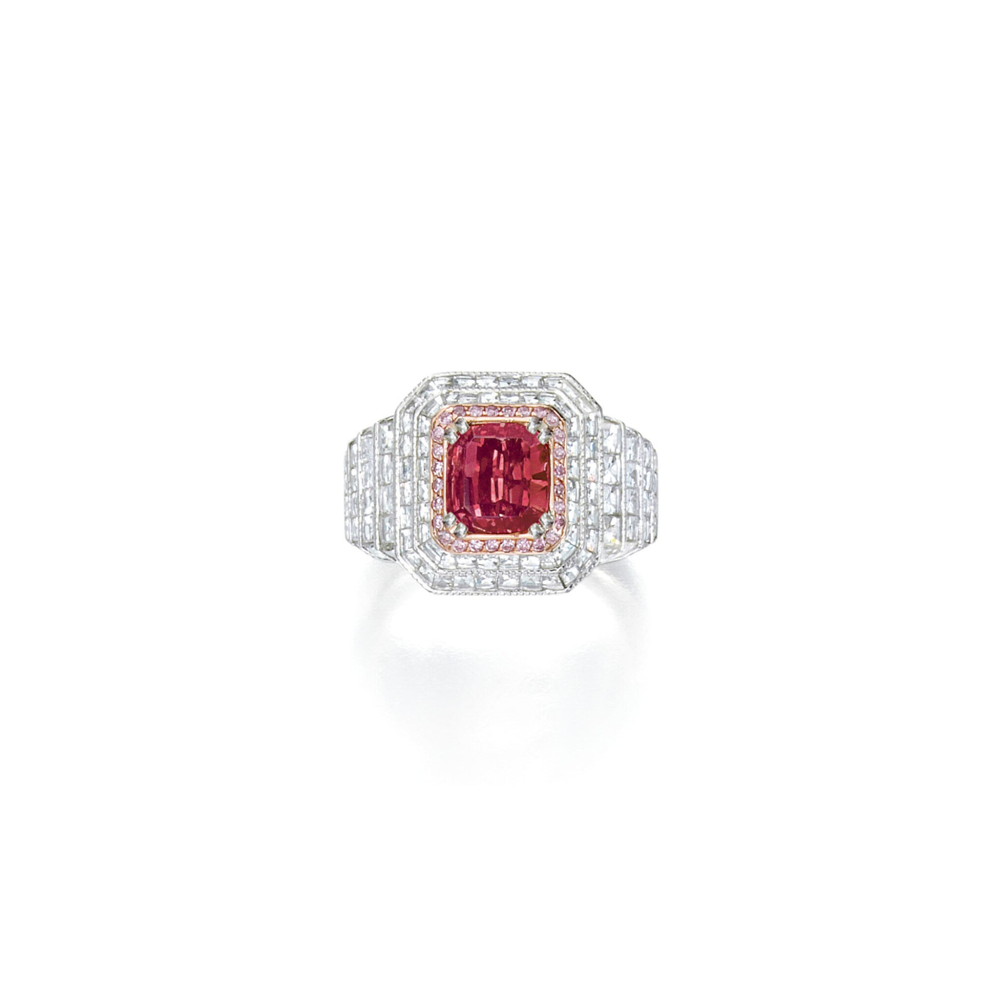 View full screen - View 1 of Lot 427. A RARE FANCY RED DIAMOND AND DIAMOND RING | 彩紅色鑽石配鑽石戒指一枚.