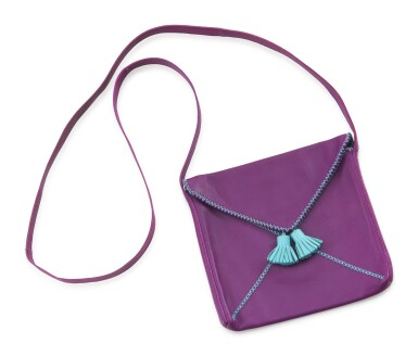 Turquoise and purple leather shoulder bag 2008, Hermès