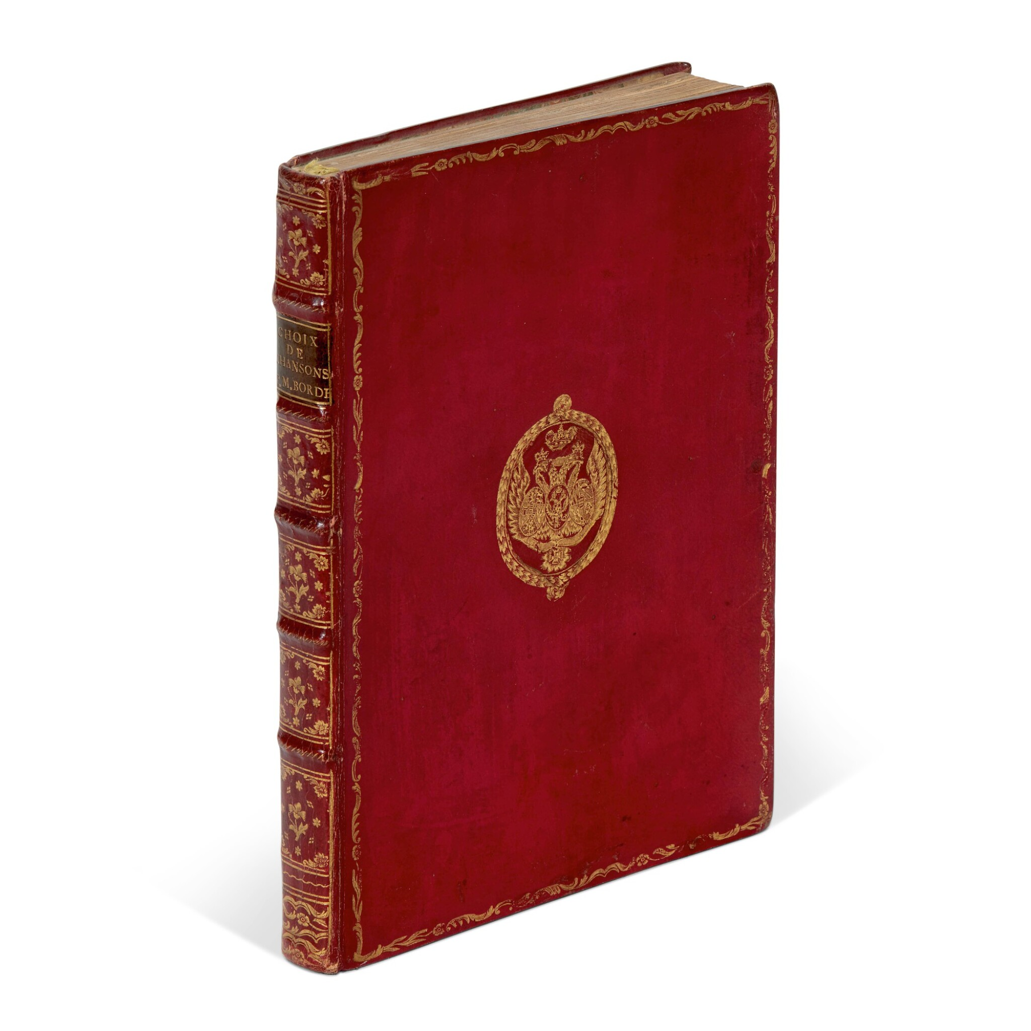 View full screen - View 1 of Lot 159. Laborde, Choix de chansons, Paris, 1773, red morocco with arms of Tsar Paul I.