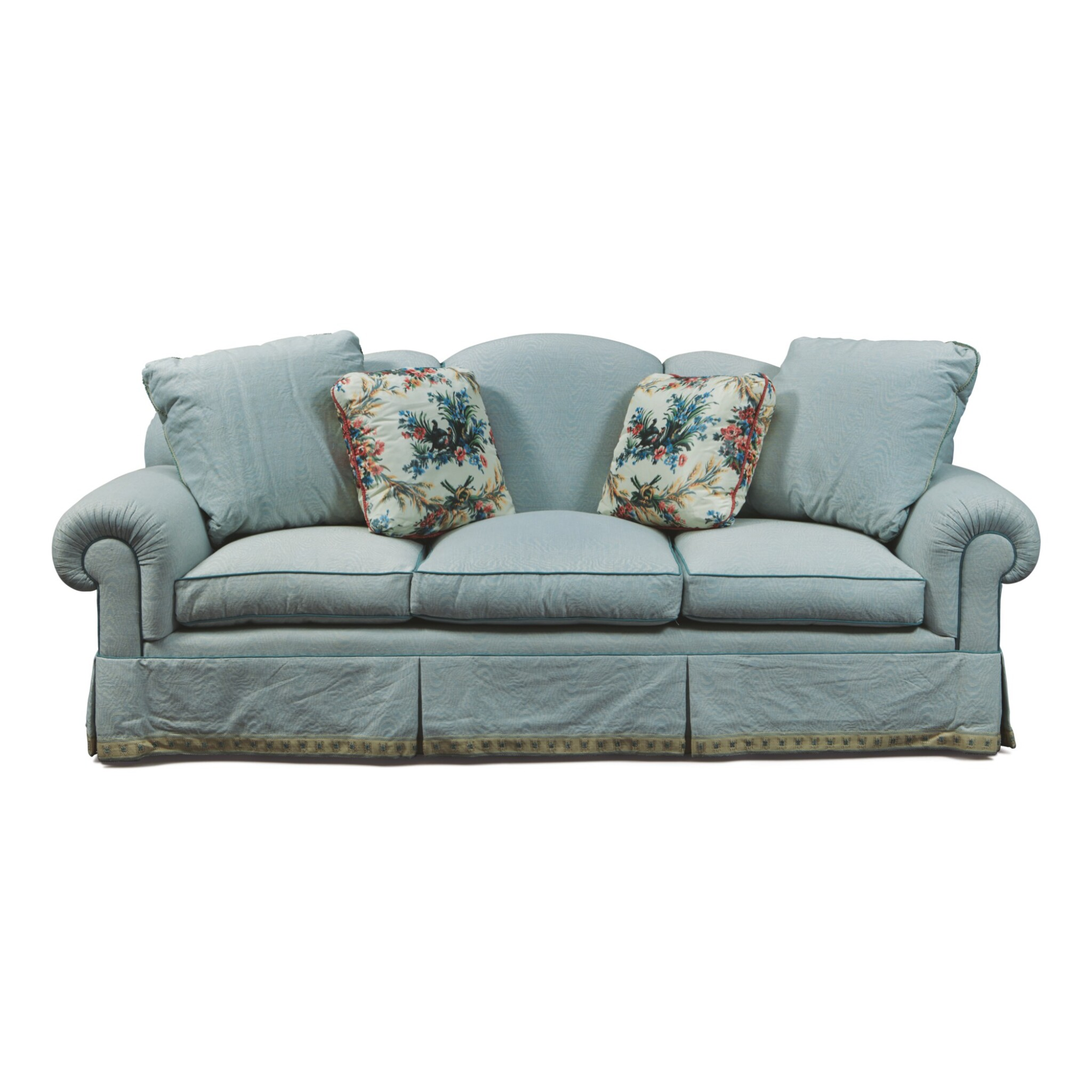 View full screen - View 1 of Lot 78. A DE ANGELIS BLUE UPHOLSTERED SOFA, MODERN.
