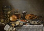 PIETER CLAESZ. | A roemer, tobacco, a chicken, a herring and a partially peeled lemon on a pewter plate, with shrimp in a porcelain bowl, and other fruit, on a partially draped table