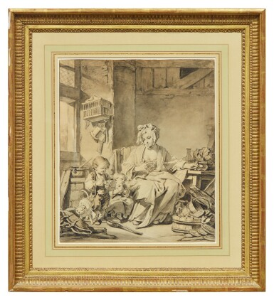 View 2. Thumbnail of Lot 18. JEAN-BAPTISTE GREUZE | RECTO AND VERSO: LE BÉNÉDICITÉ.
