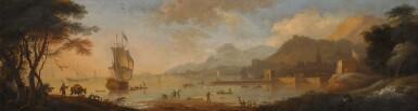 ADRIAEN VAN DIEST | A Mediterranean coast at dawn, with fishermen raising a net in the foreground, a port beyond