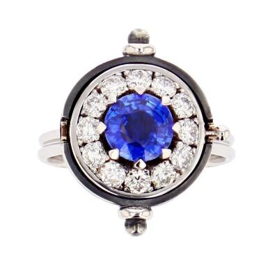 View 4. Thumbnail of Lot 3. Elie Top, Sapphire and Diamond Ring [Bague Saphir et Diamants], 'Sirius'.