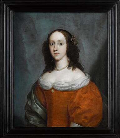 View 2. Thumbnail of Lot 8. CORNELIUS JOHNSON | A portrait of a lady, half-length, wearing an orange silk dress and a green silk shawl.
