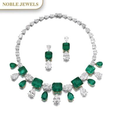 View 1. Thumbnail of Lot 167.  Moussaieff | Impressive emerald and diamond demi-parure | Moussaieff | 祖母綠配鑽石首飾套裝.