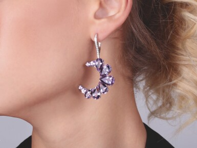 View 4. Thumbnail of Lot 14. PAIR OF AMETHYST, BLUE TOPAZ AND DIAMOND EARRINGS, MICHELE DELLA VALLE.