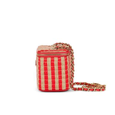 View 4. Thumbnail of Lot 70. Red and Beige Raffia and Jute Thread Mini Vanity Gold Hardware, 2021.