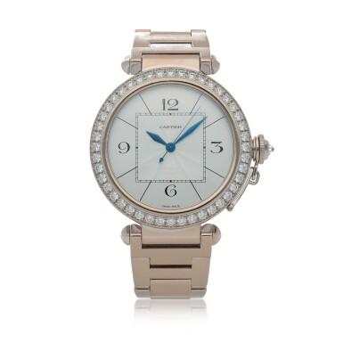View 1. Thumbnail of Lot 470. Pasha, Ref. 2765 White gold and diamond-set wristwatch with bracelet Circa 2005   卡地亞 2765型號「Pasha」白金鑲鑽石鍊帶腕錶,年份約2005.