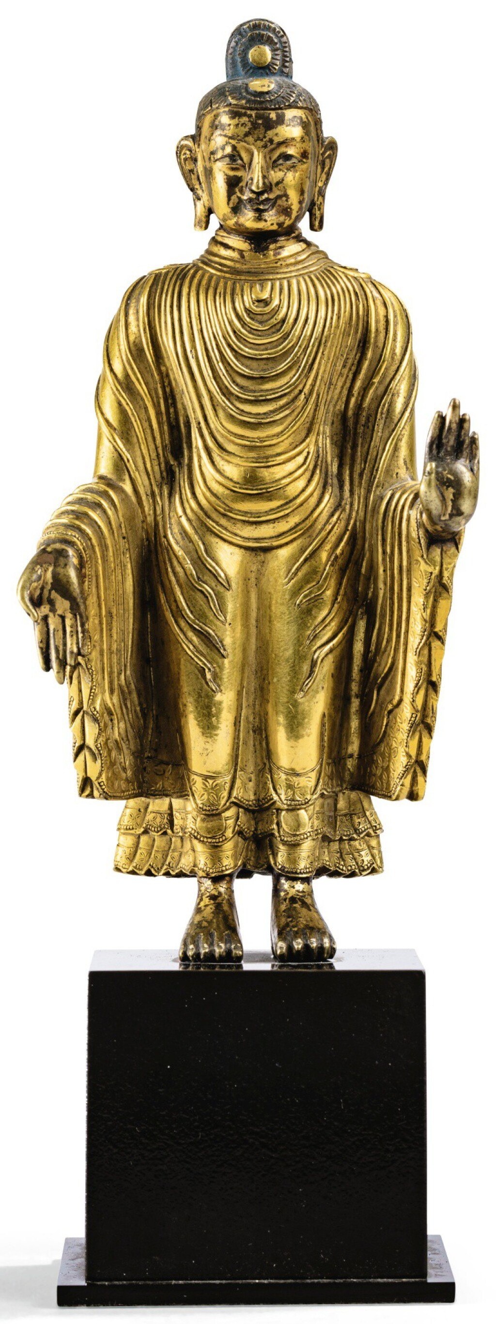 STATUETTE DE BOUDDHA MAITREYA EN BRONZE DORÉ DYNASTIE QING, XVIIIE SIÈCLE | 清十八世紀 鎏金銅彌勒佛立像 | A gilt-bronze figure of Maitreya, Qing Dynasty, 18th century