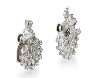 View 2. Thumbnail of Lot 1025. PAIR OF DIAMOND EAR CLIPS, 1950s  | 鑽石耳環一對, 1950年代.