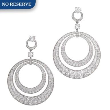 View 1. Thumbnail of Lot 631. Graff | Pair of diamond pendent earrings | 格拉夫 | 鑽石耳墜一對.