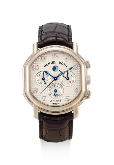 DANIEL ROTH | REFERENCE 377.X.60, A LIMITED EDITION WHITE GOLD PERPETUAL CALENDAR CHRONOGRAPH WRISTWATCH WITH MOON PHASES, CIRCA 2004