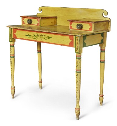 View 5. Thumbnail of Lot 318. Fine Classical Polychrome Paint-Decorated Pine Dressing Table, Maine, circa 1825-1840.
