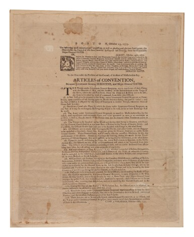 View 1. Thumbnail of Lot 66. Gates, Horatio. A very rare broadside printing of Gates's Articles of Convention with British General Burgoyne after the American victory at Saratoga.