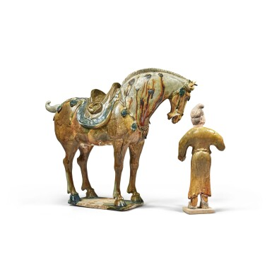 View 2. Thumbnail of Lot 181. A sancai and blue-glazed horse with groom, Tang dynasty   唐 三彩馬及馬夫俑.