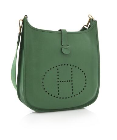 Green leather, canvas and palladium hardware Evelyne PM 29, Hermès, 1992