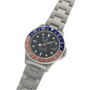 View 2. Thumbnail of Lot 160. ROLEX | REF 16710 GMT-MASTER II, A STAINLESS STEEL AUTOMATIC DUAL TIME WRISTWATCH WITH DATE AND BRACELET CIRCA 1991.