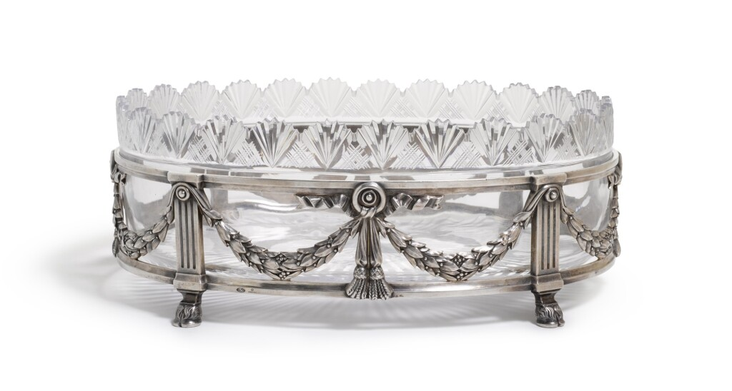 A FABERGÉ SILVER AND CUT-GLASS CENTREPIECE, MOSCOW, 1899-1908