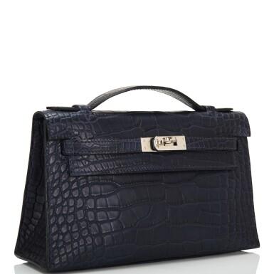 View 2. Thumbnail of Lot 44. Hermès Mini Kelly Pochette of Bleu Indigo Matte Mississippiensis Alligator with Palladium Hardware.