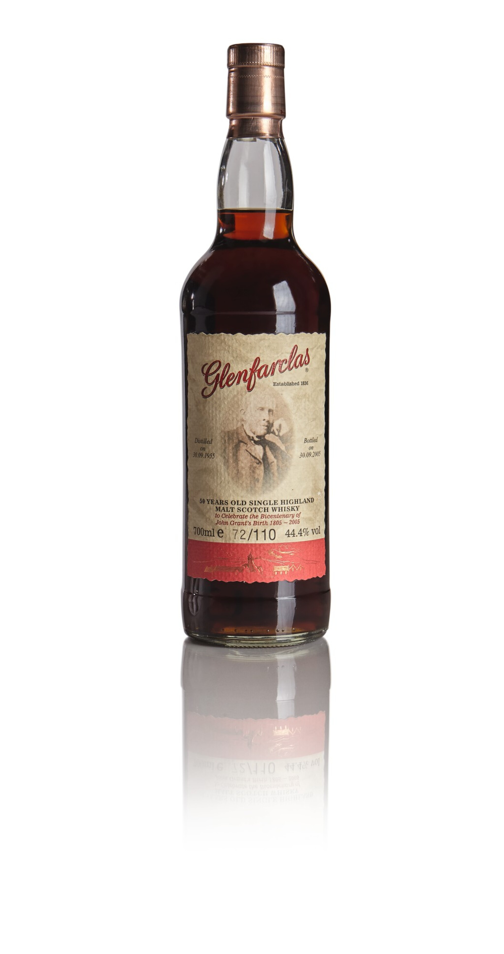 View full screen - View 1 of Lot 251. GLENFARCLAS JOHN GRANT'S BICENTENARY 1805 TO 2005  50 YEAR OLD 44.4 ABV 1955  .