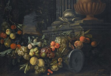 JAN PAUL GILLEMANS THE ELDER | A GARLAND OF FRUIT BEFORE CLASSICAL RUINS, WITH A FOUNTAIN AND A SOUTHERN LANDSCAPE BEYOND