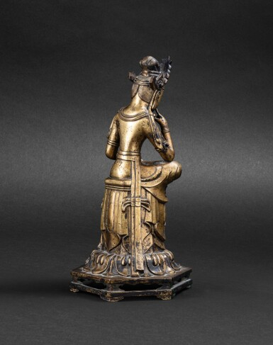 View 3. Thumbnail of Lot 263. Figure de Maitreya en bronze doré Corée, probablement début XXE siècle   朝鮮 或為二十世紀初 鎏金銅彌勒佛坐像   A gilt bronze figure of seated Maitreya, Korea, probably early 20th century, in an earlier Joseon style.