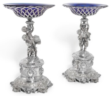 View 1. Thumbnail of Lot 144. A PAIR OF VICTORIAN PARCEL-GILT SILVER COMPORTS, ALEXANDER MACRAE FOR HARRY EMMANUEL, LONDON, 1859.