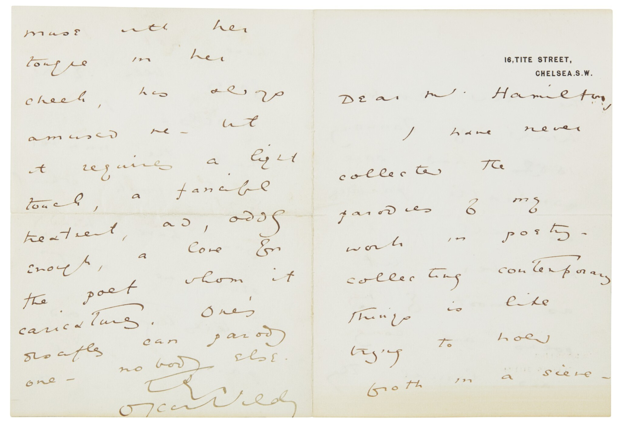 View full screen - View 1 of Lot 27.  WILDE   Autograph letter signed, to Walter Hamilton, [1889] .