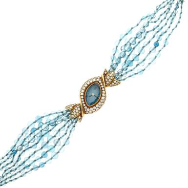 View 2. Thumbnail of Lot 95. A yellow gold and diamond-set watch with blue topaz beads bracelet, Circa 1995 .