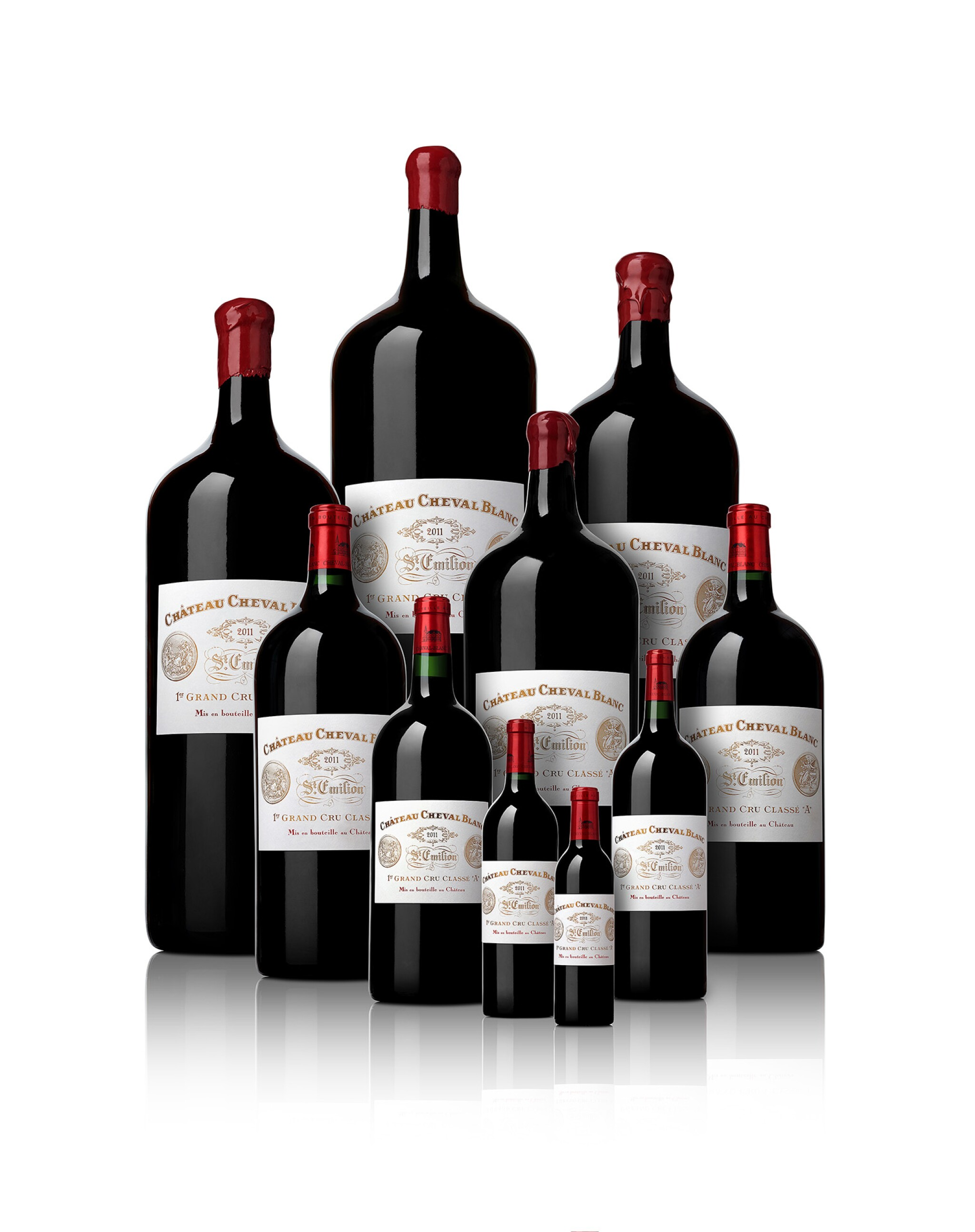 View full screen - View 1 of Lot 1. Château Cheval Blanc 2011   Complete Collection of All Bottle Sizes   From Mestrezat Grands Crus.
