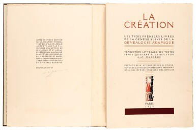 View 2. Thumbnail of Lot 98. Schmied and Mardrus. La Création. 1928. 2 volumes. folio. original wrappers.
