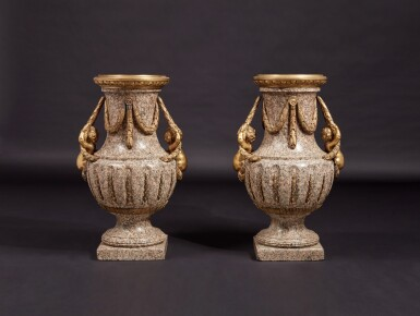 View 1. Thumbnail of Lot 57. A Monumental Pair of Gilt Bronze-Mounted Pink Granite Vases, the Mounts Circa 1840 After Designs by Jean-Louis Prieur or Jean-François Forty; the Vases Possibly Late 18th Century.