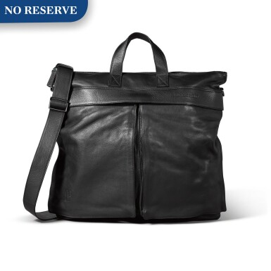 View 1. Thumbnail of Lot 723. BLACK LEATHER TOTE MESSENGER BAG.