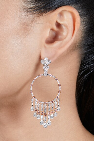 View 2. Thumbnail of Lot 252. Pair of Diamond and Colored Diamond 'Gypsy' Pendant-Earclips.