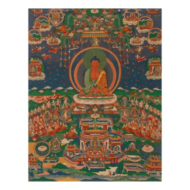 View 1. Thumbnail of Lot 306. A THANGKA DEPICTING AMITABHA IN SUKHAVATI,  TIBET, 18TH/19TH CENTURY.