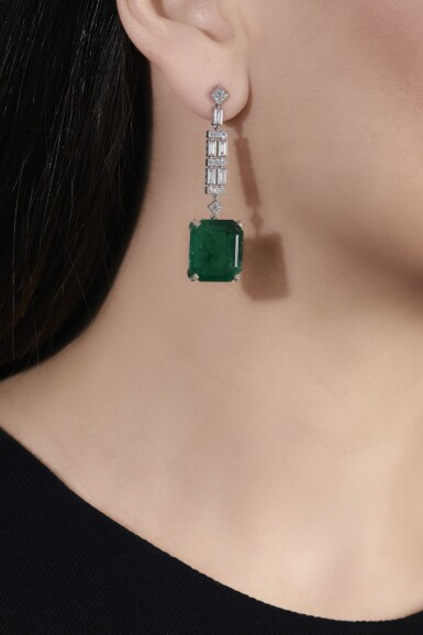 View 4. Thumbnail of Lot 1169. Pair of emerald and diamond pendent earrings.